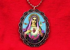VIRGIN MARY OUR LADY OF GUADALUPE SAINT MEDAL ROSARY FLOWERS PENDANT NECKLACE
