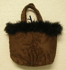 #5545C CUTE! NEW 'TEA BAGS' BROWN PURSE TRIMMED WITH BLACK