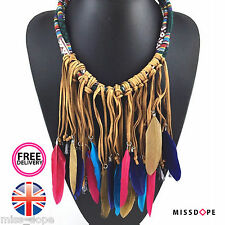 NEW BROWN PINK FEATHER TASSELS STATEMENT CHOKER NECKLACE WOMENS MULTILAYER UK
