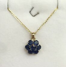 14k Solid Yellow Gold Flat Rolo Chain & Cluster Round Natural Sapphire Pendant.