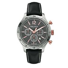 NEW NAUTICA SILVER+ROSE GOLD 2 TONE,BLACK LEATHER BAND,CHRONO WATCH A16660G