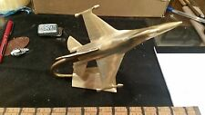 F16 fighter jet solid brass neat desk paperweight plane airplane turns neat!!