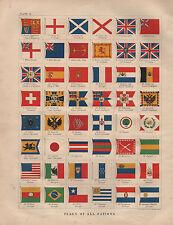 1897 victorian print ~ drapeaux de toutes les nations ~ japon france turquie birmanie etc