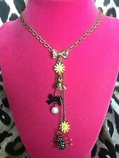 Betsey Johnson Vintage Garden Case Daisy Flower Bee Polka Dot Spider Necklace