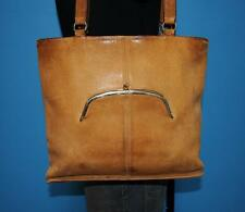 Vintage Early 70s COACH Rare Bonnie Cashin Tan Brown Leather KISSLOCK Purse Bag