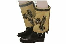 Women Western Boot Cover Toppers Pair Long Brown Faux Leather Slip On Black Lace