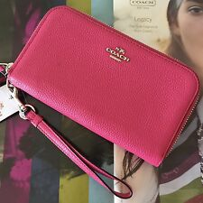 Coach Dahlia Pink Pebble Leather Double Zip Accordion Wallet Wristlet 53908 NWT