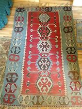 Vintage 30-40 years old  Hand Woven Turkish Kilim Rug blue red wool 46in x 6ft