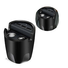 Car 3.1A 3 USB Cup Charger With Mount Holder 2 Cigarettes Lighter Port Charger
