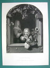 YOUNG BOY Blowing Soap Bublles from Window - SUPERB 1850s Antique Print
