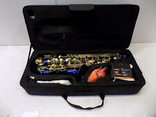 LaGrima Blue Lacquer Brass Alto Saxophone With Tuner, Case And Accessories