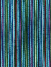 Fabric Mosaic Garden Stripes Peacock Blue on Cotton by the 1/4 yard