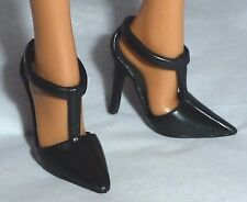 SHOES ~ BARBIE DOLL MODEL MUSE BLACK JAZZ BABY T-STRAP MARY JANES HIGH HEEL
