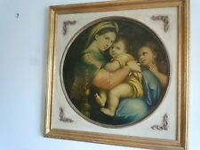 """Rapheal """"Madonna of the Chair"""" Madonna & Child Oil Painting 27.5"""" X 27.5"""""""