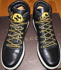 AUTHENTIC! $870 GUCCI BETIS CALF BLACK LEATHER HIGH TOP SNEAKER SZ 7.5G/ 8.5US