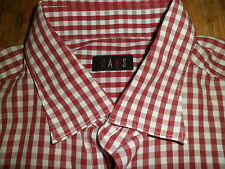 DAKS Red & White Check 100% Cotton Long Sleeve Shirt Size 43/17