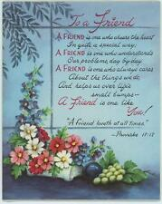 VINTAGE GARDEN PLUM GRAPES PROVERBS FRIEND LOVES PRINT 1 LILY OF THE VALLEY CARD