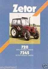 Farm Tractor Brochure - Zetor - 7211 7245 - c 80's-90's (F1074)