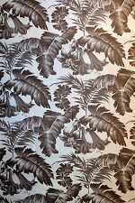 Gaston Y Daniela tropical botanical home decor fabric / 2.5 YDS choc brown print