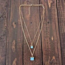 Anthropologie Turquoise & Gold NATURAL STONE Layered Boho LAYERED NECKLACE New