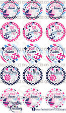 "(15)  1"" Precut Bottle Cap Images Bow Sayings Sail Away With Me Beach Summer"