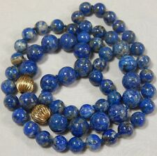 Vtg Quality Chinese Blue Lapis and Gold Strand Beaded Necklace 23""