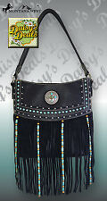Montana West Black Leather Fringe Concealed Handgun Collection Handbag