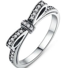 Size 3-12 Rhodium Silver Bow Tie Ring Infinity Wedding Engagement Heart Shape