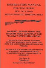 SKS 7.62x39 mm SPORTING RIFLE OWNERS GUN MANUAL CHINA SPORTS