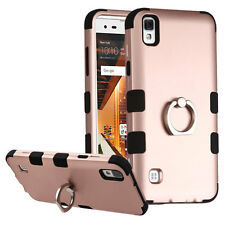Rose Gold TUFF skin Cover case w/ Metal Ring Stand For LG Tribute HD / X STYLE