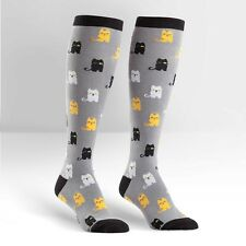 Sock It To Me Women's Funky Knee High Socks - Winking Cat