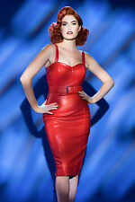 HOT PINUP GIRL CLOTHING DEADLY DAMES LIPSTICK RED FAUX LEATHER WIGGLE DRESS XL !