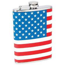 8 oz. Stainless Steel Hip Pocket Whiskey Flask American Flag Wrap Stars Stripes