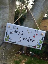 Handmade Personalised Custom Bespoke Plaque, Hanging, Sign. Made To Order Garden