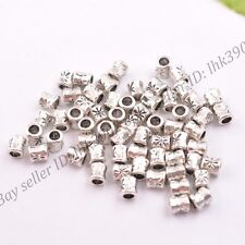 50/100Pcs Antique Tibetan Silver Tube Charm Spacer Beads 5MM DB3034