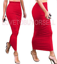 Tight Fitted Slimming Tube Plain Party Club Casual Long Skirt Col. Red Size S