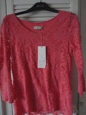 M&S Per una cotton blend coral  lacy top with stretch size 12 BNWT