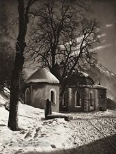 1924 Vintage GERMANY Loretto Chapel Oberstdorf Snow Architecture Photo HIELSCHER