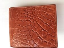 100% Genuine crocodile alligator skin leather bifold men tan wallet