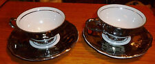 Vintage Mayer Wiesau 1840 - Silver & White Porcelain Demitasse cups/saucers