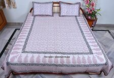 Cotton Queen Floral Style Coverlet Bed Spreads 3Pc Set- White/Red Indian Throw