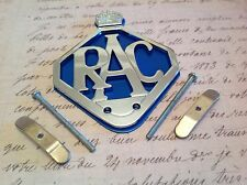 RAC-CAR-BADGE-BAR-BADGE-CHROME-PLATE-BLUE-BACKING AA COLLECTABLE