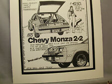 1975 Chevy Monza Chevrolet  Auto Pen Ink Hand Drawn  Poster Automotive Museum
