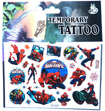 SPIDERMAN TATTOO SHEET Kids Boys Birthday Party Bag Filler Gift Marvel Superhero