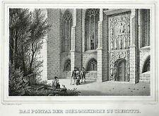 Chemnitz-portal de la iglesia castillo-Saxonia-litografía 1835