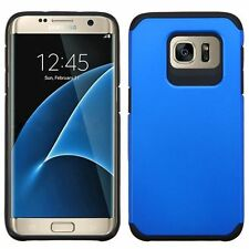For Samsung Galaxy S7 Edge Blue Black Hard Silicone Hybrid Rubber Case Cover