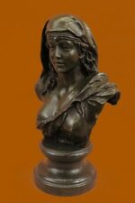 Signed Original Beautiful Maiden Semi Nude Bronze Sculpture Marble Statue Ef