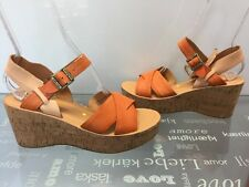 Women's Orange Leather Kork Ease Wedge Sandals Size 10/42