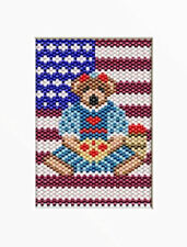 4Th Of July Bear~Beaded Banner Pattern