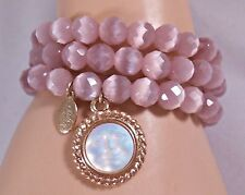 Kirks Folly NWOT Pink Cat's Eye Beaded Seaview Moon Stretch Bracelets Set 3
